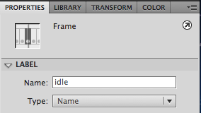 Name the Frame 1 of the Labels Layer idle Using the Properties Panel
