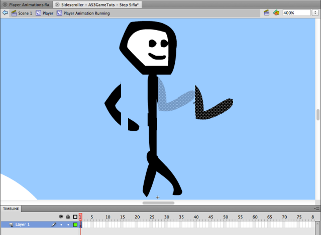edit the player running animation and separate the arms form the body