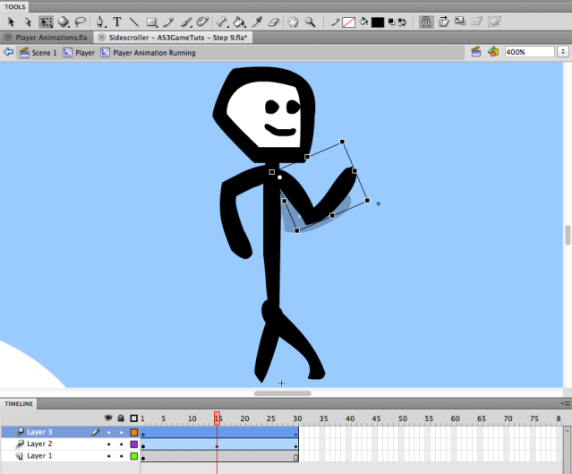 reposition the arms to create the animation