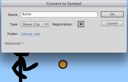 Convert the Bullet to a Movie Clip symbol