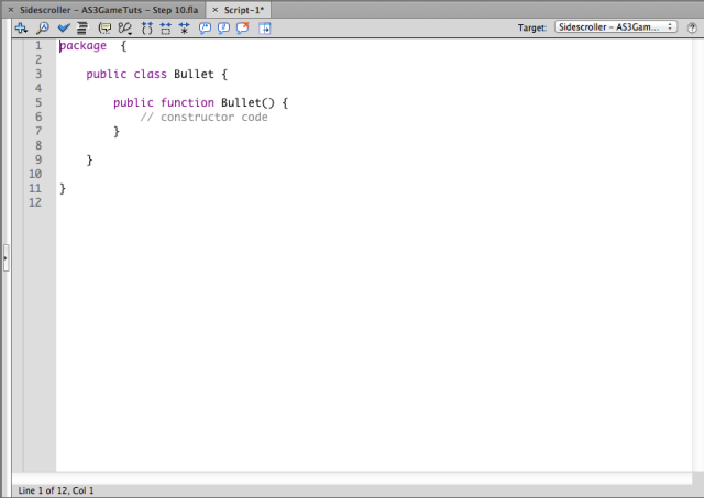 Bullet class external actionscript tab default