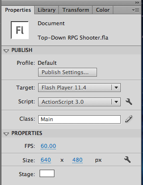 top down RPG shooter set document class to main